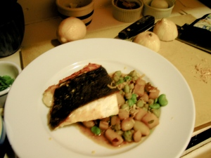 Halibut and Fava, Garbonzo and Potato hash