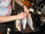 Meg and Baby Gastron prepping the branzino