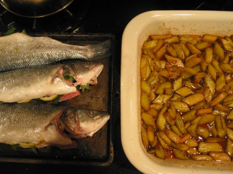Branzino and Rhubarb